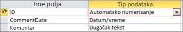 Primarni ključ automatskog numerisanja označen kao ID u prikazu dizajna Access tabele