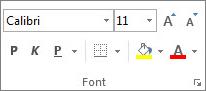 "Grupa ""Font"" na kartici ""Početak"""