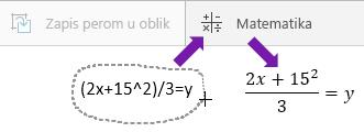 """Prikazuje otkucane jednačine, dugme """"Jednačina"""" i konvertovanu jednačinu"""