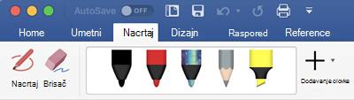 Olovke i markera na kartici crtanje u sistemu Office 365 za Mac