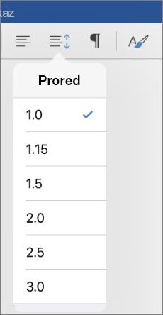 Prikazuje liniju opcije proreda u programu Word za iPad.