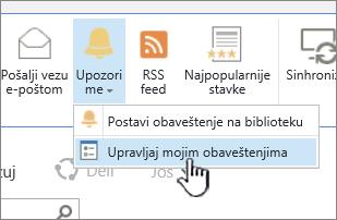Upravljanje SharePoint 2016 obaveštenja dugme istaknuta