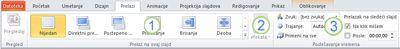 "Kartica ""Prelazi"" na traci programa PowerPoint 2010."