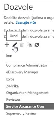 """Prikazuje izabranu ulogu """"Korisnik provere usluge"""", a zatim izabranu ikonu """"Uredi""""."""