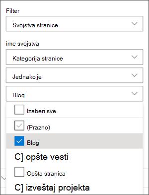 Filter postavljen na blogove u oknu sa Veb segmentima za vesti