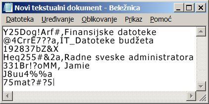 """Lista lozinki u datoteci programa """"Beležnica"""""""