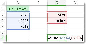 Korišćenje funkcije SUM na dva opsega brojeva