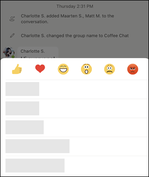 """Ekran """"opcije poruke"""" u timovima"""