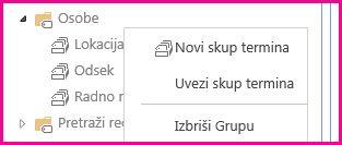 """U alatki """"Skladište termina"""" možete izabrati elemente u oknu za navigaciju da biste otvorili meni"""