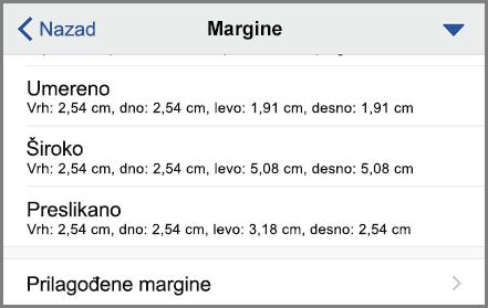 Prikazuje opcije margina
