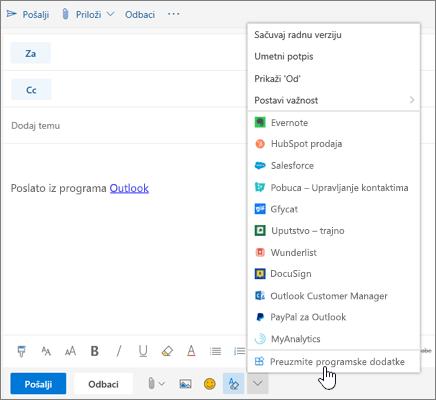 """Snimak ekrana prikazuje poruku e-pošte sa izabranom opcijom """"Nabavite programske dodatke""""."""
