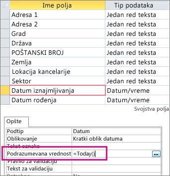 Podešavanje podrazumevane vrednosti polja Datum/vreme u Access tabeli.