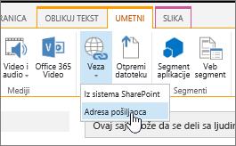 Umetni vezu pomoću Veb adresu