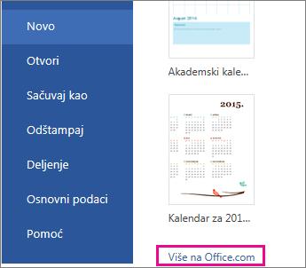 """Izaberite stavku """"Više informacija na lokaciji Office.com"""""""