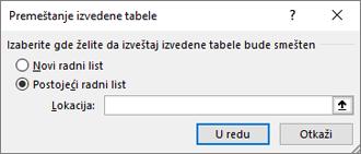 Premeštanje dijalog izvedene tabele