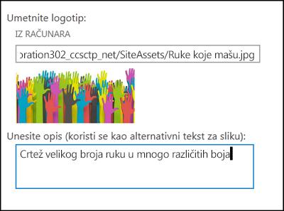 Dijalog za naslov i logotip nove lokacije u sistemu SharePoint Online pokazuje kako da kreirate alternativni tekst za sliku logotipa