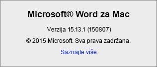 """Snimak ekrana koji prikazuje stranicu """"Osnovni podaci o programu Word"""" u programu Word za Mac"""