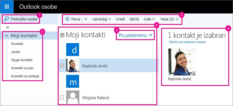 "Snimak ekrana stranice ""Outlook osobe""."