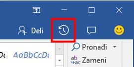 Prikaz istorije verzija Office datoteka