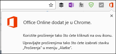 Chrome vas obaveštava da je na lokaciji Office Online lokala uspešno dodat