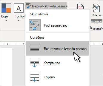 Postavljanje jednog razmaka na dokument
