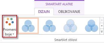 """Promena opcije """"Boje"""" u grupi """"SmartArt stilovi"""""""