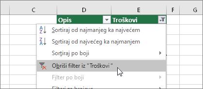 """Meni """"Filter"""", Obriši filter..."""