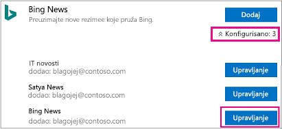 """Dugme """"Upravljaj"""" na stranici konektora"""