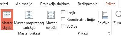 Rasporedi na slajdu mogu se prilagoditi u prikazu mastera slajda