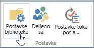 Postavke biblioteke SharePoint dugmad na traci