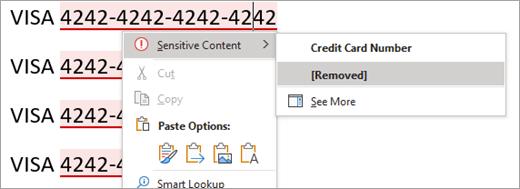 Snimak ekrana istaknute osetljive sadržaja u programu Word