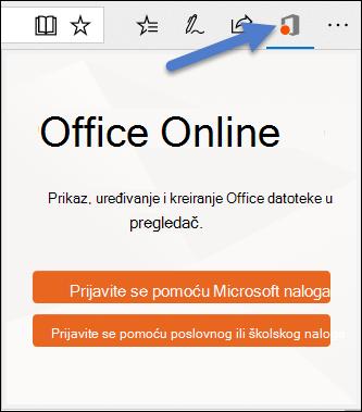 Dijalog za prijavljivanje za Office Online oznaku tipa datoteke u ivice