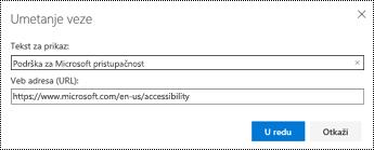 Dijalog hiperveze u programu Outlook na vebu.