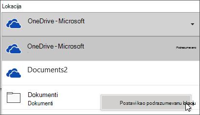 Dijalog Sačuvaj čuvanje datoteke u sistemu Office 365 koji prikazuje proširene liste fascikli tako da klijent može da promeni podrazumevanu fasciklu za čuvanje