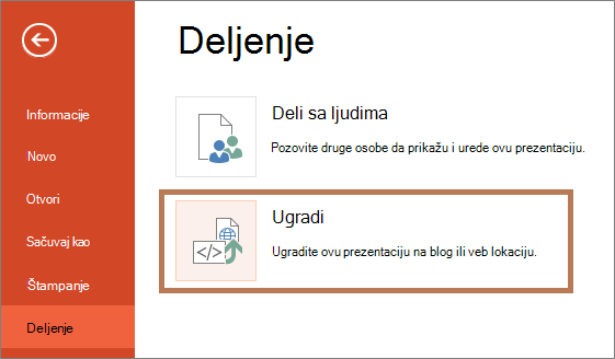 Ugrađivanje PowerPoint prezentacije