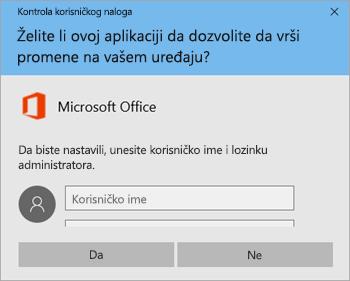 """Snimak ekrana koji prikazuje prozor """"Kontrola korisničkog naloga"""""""