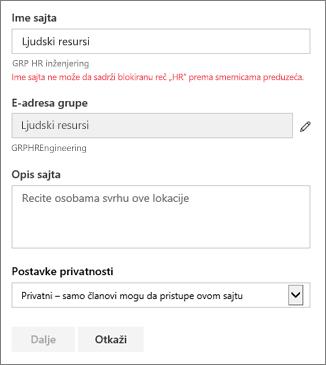 Snimak ekrana: Imenovanja smernica grupe – SharePoint lokacije blokirani ime