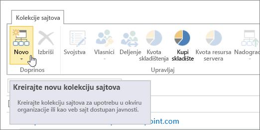 """Stranica kolekcije sajtova sa izabranom opcijom """"Novo"""""""