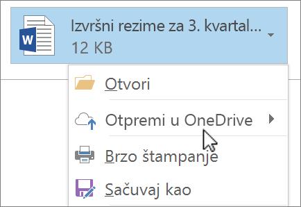 """Snimak ekrana prozora za sastavljane poruke u programu Outlook koji prikazuje priloženu datoteku sa izabranom komandom """"Otpremi""""."""
