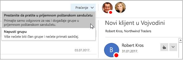 """Dugme """"pretplata"""" u zaglavlju grupe u programu Outlook 2016"""
