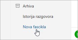 """Snimak ekrana dugmeta """"Nova fascikla"""""""