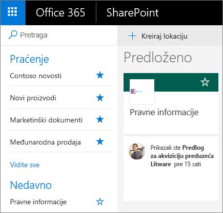 Snimak ekrana početne stranice SharePoint modernog režima.