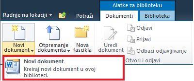 Dodavanje novog dokumenta u biblioteku dokumenata