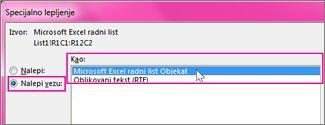 Odaberite Microsoft Excel
