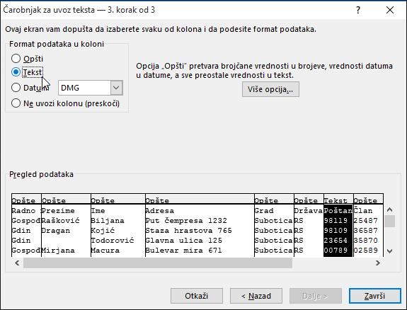 """Opcija """"Tekst"""" za format podataka u koloni markirana je u čarobnjaku za uvoz teksta."""