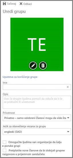"""Izaberite stavku """"Uputstva za upotrebu grupe"""" da biste videli uputstava za upotrebu Office 365 grupa organizacije"""