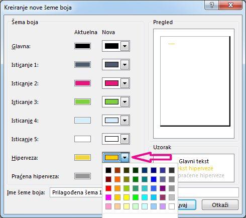 Kreiranje nove šeme boja u programu Publisher radi menjanja boja hiperveze