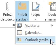 """Komanda """"Priloži Outlook"""" stavku na traci"""