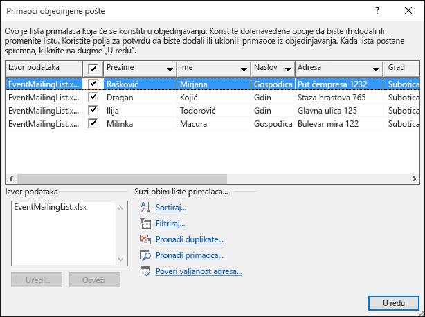 U dijalogu Primaoci objedinjene pošte koja prikazuje sadržaj u Excel radni list koristi kao izvor podataka za liste slanja