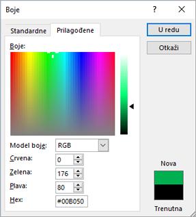 Prikazuje prilagođene boje